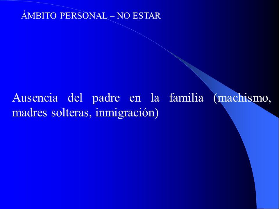 ÁMBITO PERSONAL – NO ESTAR Ausencia del padre en la familia (machismo, madres solteras, inmigración)