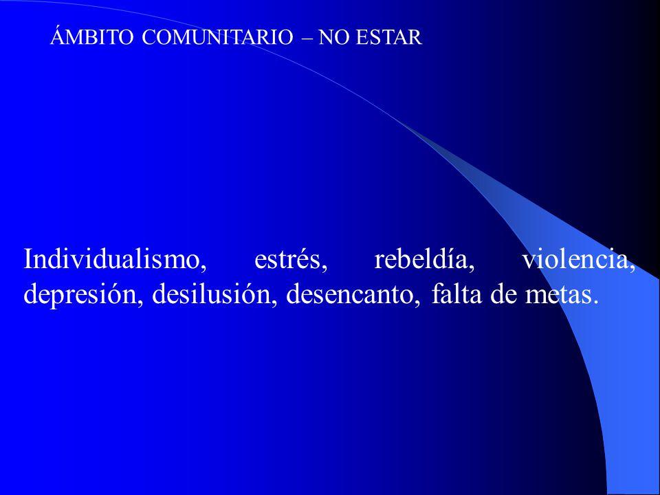ÁMBITO COMUNITARIO – NO ESTAR Individualismo, estrés, rebeldía, violencia, depresión, desilusión, desencanto, falta de metas.