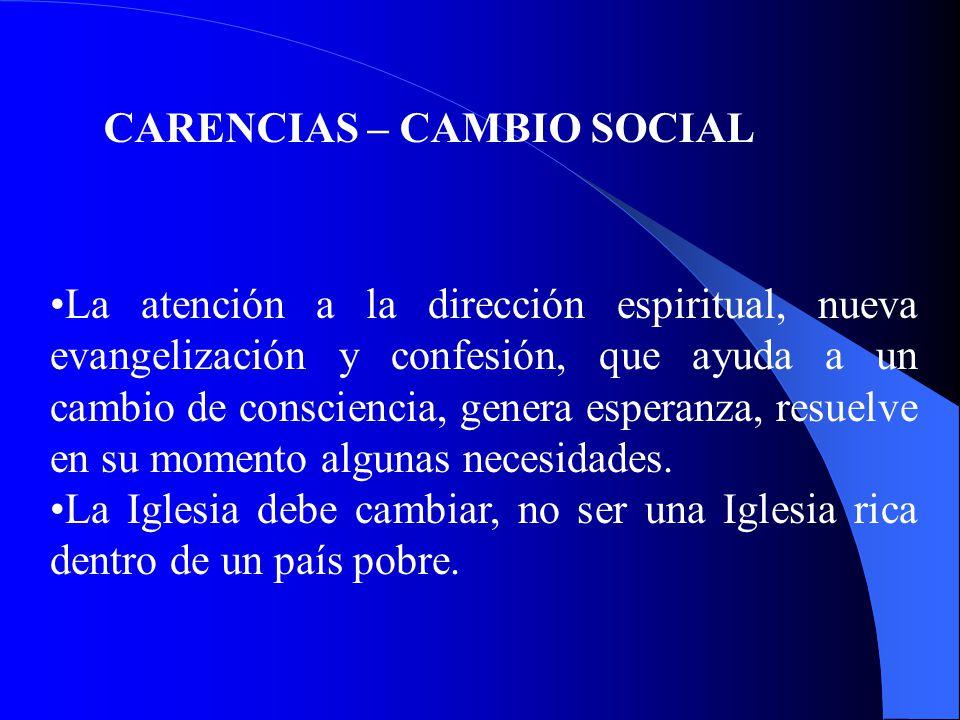 CARENCIAS – CAMBIO SOCIAL La atención a la dirección espiritual, nueva evangelización y confesión, que ayuda a un cambio de consciencia, genera esperanza, resuelve en su momento algunas necesidades.