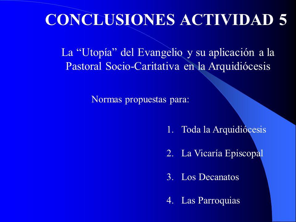 CONCLUSIONES ACTIVIDAD 5 La Utopía del Evangelio y su aplicación a la Pastoral Socio-Caritativa en la Arquidiócesis Normas propuestas para: 1.Toda la