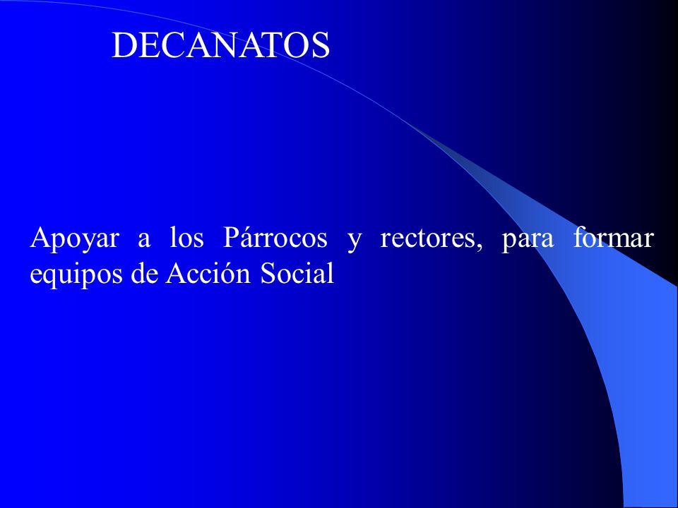 DECANATOS Apoyar a los Párrocos y rectores, para formar equipos de Acción Social