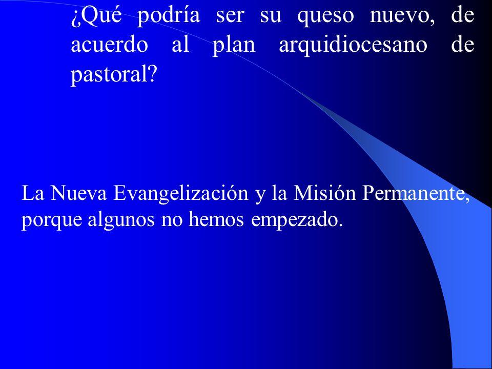 ¿Qué podría ser su queso nuevo, de acuerdo al plan arquidiocesano de pastoral? La Nueva Evangelización y la Misión Permanente, porque algunos no hemos