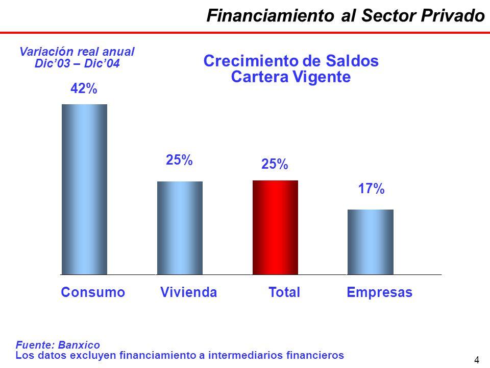 4 Financiamiento al Sector Privado Variación real anual Dic03 – Dic04 Fuente: Banxico Los datos excluyen financiamiento a intermediarios financieros 42% 25% 17% ConsumoViviendaTotalEmpresas Crecimiento de Saldos Cartera Vigente