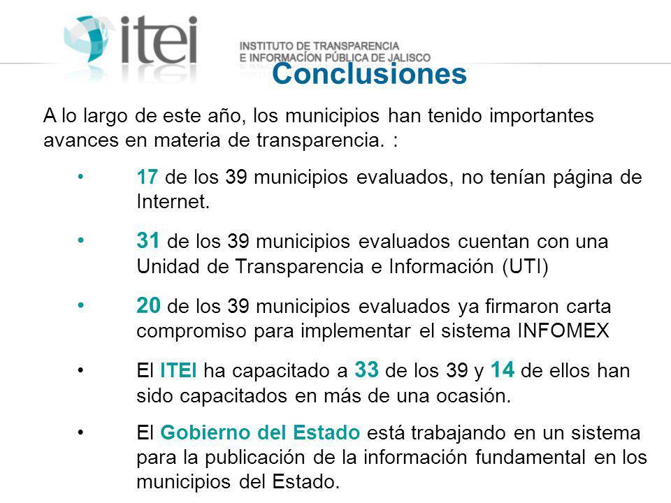 Conclusiones A lo largo de este año, los municipios han tenido importantes avances en materia de transparencia. : 17 de los 39 municipios evaluados, n