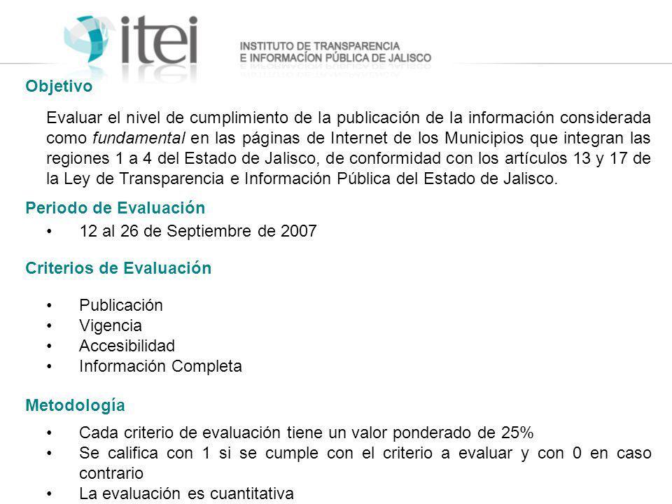 Evaluar el nivel de cumplimiento de la publicación de la información considerada como fundamental en las páginas de Internet de los Municipios que int