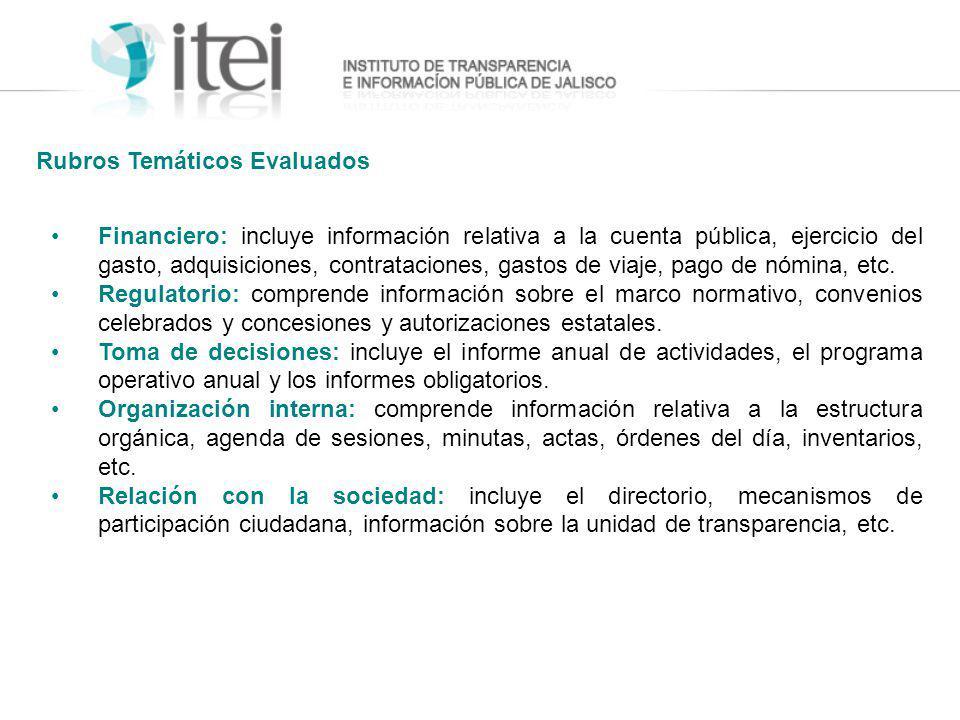 Financiero: incluye información relativa a la cuenta pública, ejercicio del gasto, adquisiciones, contrataciones, gastos de viaje, pago de nómina, etc