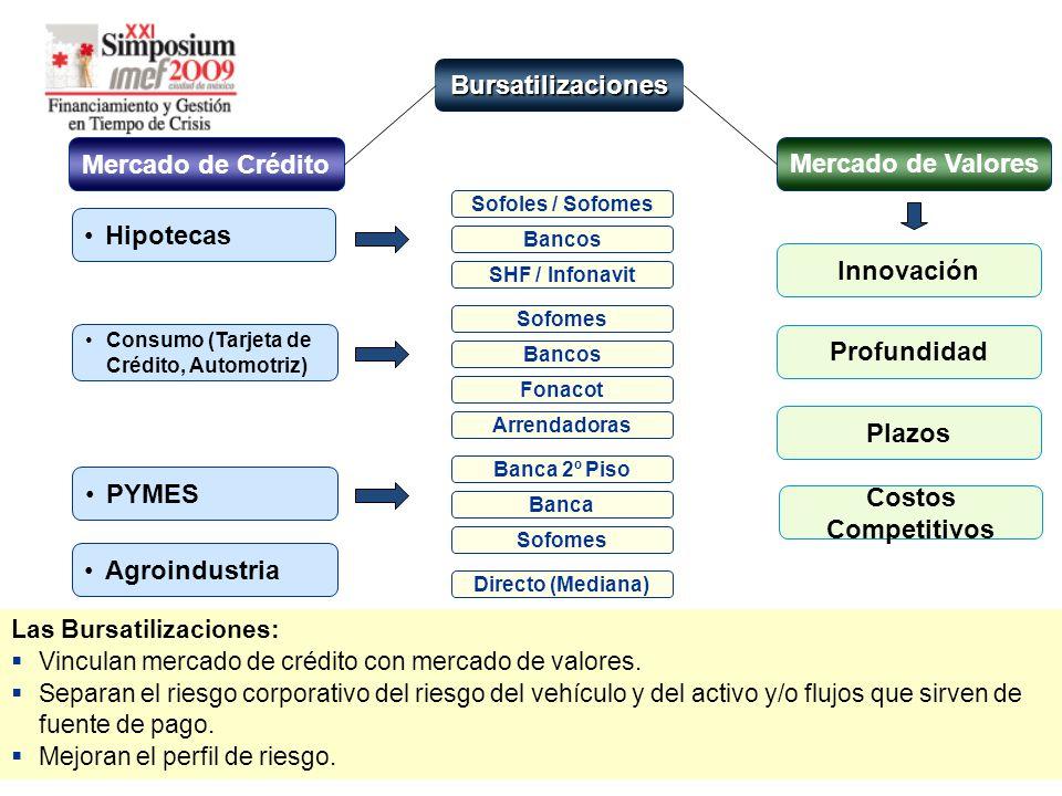 Bursatilizaciones Mercado de Crédito Mercado de Valores Hipotecas Consumo (Tarjeta de Crédito, Automotriz) Agroindustria Las Bursatilizaciones: Vinculan mercado de crédito con mercado de valores.