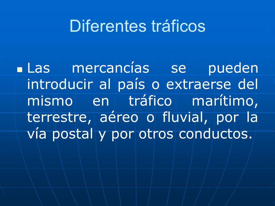 Diferentes tráficos Las mercancías se pueden introducir al país o extraerse del mismo en tráfico marítimo, terrestre, aéreo o fluvial, por la vía post