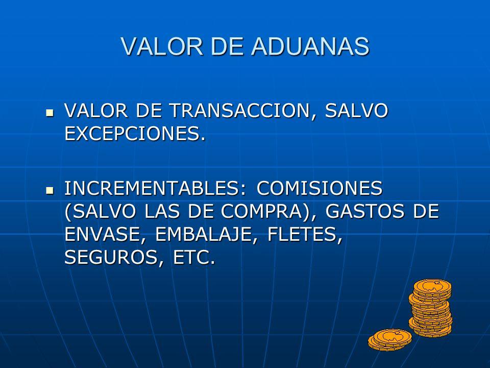VALOR DE ADUANAS VALOR DE TRANSACCION, SALVO EXCEPCIONES. VALOR DE TRANSACCION, SALVO EXCEPCIONES. INCREMENTABLES: COMISIONES (SALVO LAS DE COMPRA), G