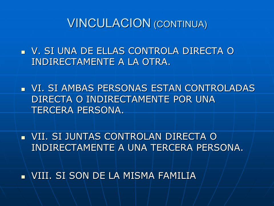 VINCULACION (CONTINUA) V. SI UNA DE ELLAS CONTROLA DIRECTA O INDIRECTAMENTE A LA OTRA. V. SI UNA DE ELLAS CONTROLA DIRECTA O INDIRECTAMENTE A LA OTRA.