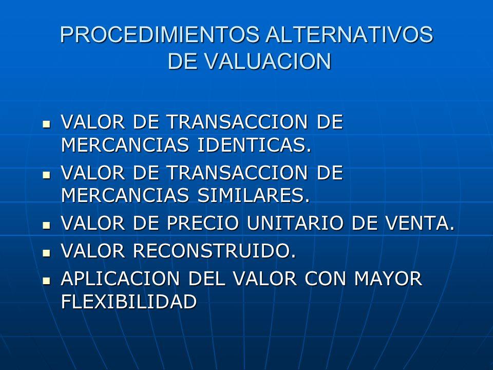 PROCEDIMIENTOS ALTERNATIVOS DE VALUACION VALOR DE TRANSACCION DE MERCANCIAS IDENTICAS.