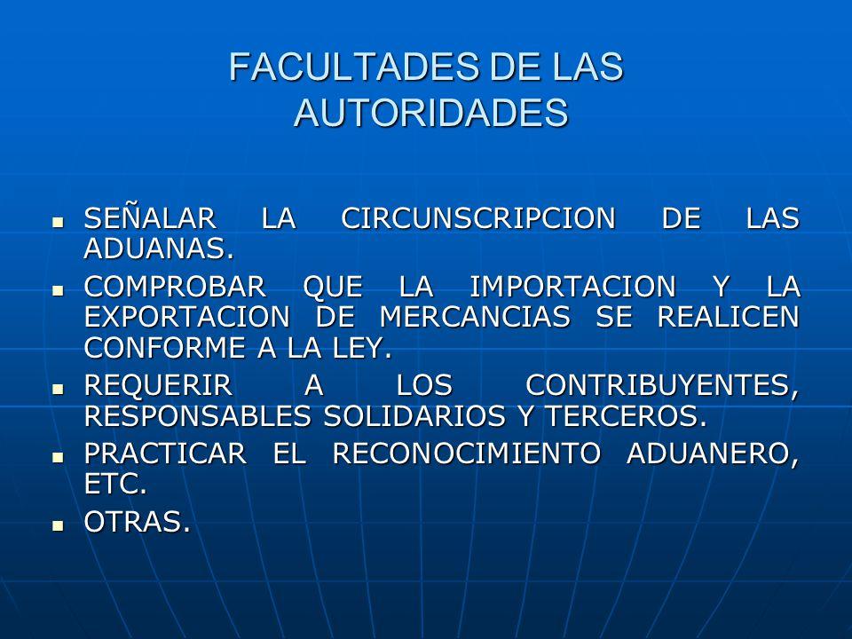 FACULTADES DE LAS AUTORIDADES SEÑALAR LA CIRCUNSCRIPCION DE LAS ADUANAS. SEÑALAR LA CIRCUNSCRIPCION DE LAS ADUANAS. COMPROBAR QUE LA IMPORTACION Y LA