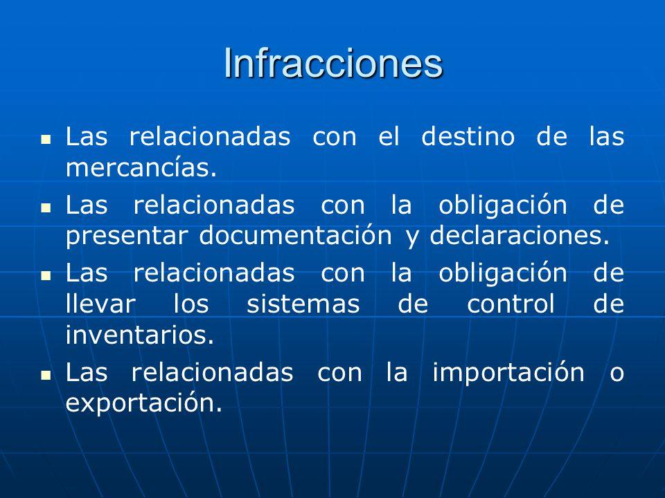 Infracciones Las relacionadas con el destino de las mercancías. Las relacionadas con la obligación de presentar documentación y declaraciones. Las rel
