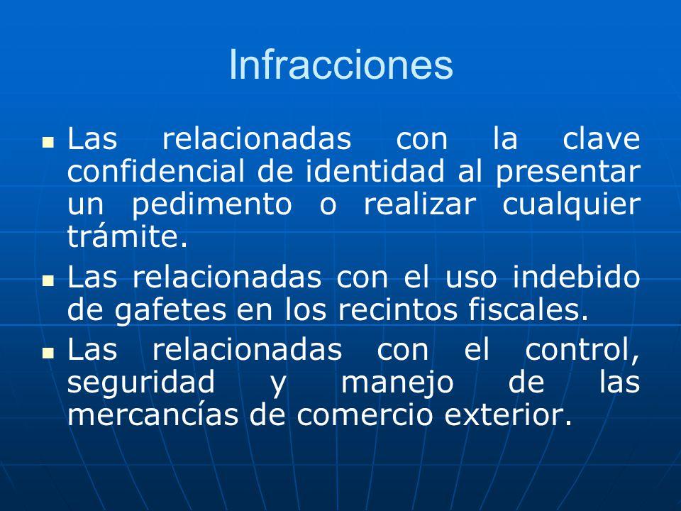 Infracciones Las relacionadas con la clave confidencial de identidad al presentar un pedimento o realizar cualquier trámite. Las relacionadas con el u