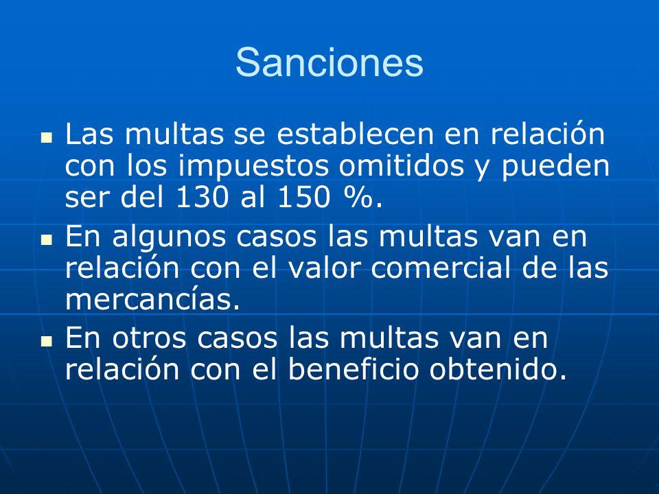 Sanciones Las multas se establecen en relación con los impuestos omitidos y pueden ser del 130 al 150 %. En algunos casos las multas van en relación c