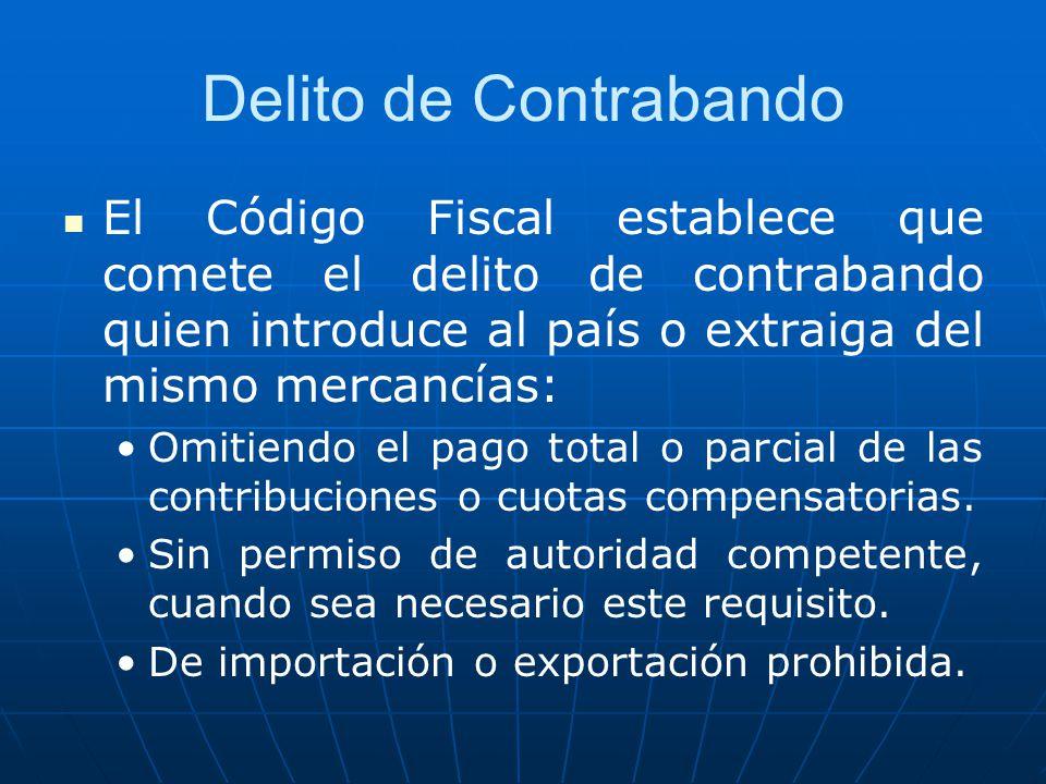 Delito de Contrabando El Código Fiscal establece que comete el delito de contrabando quien introduce al país o extraiga del mismo mercancías: Omitiend