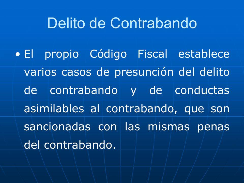 Delito de Contrabando El propio Código Fiscal establece varios casos de presunción del delito de contrabando y de conductas asimilables al contrabando