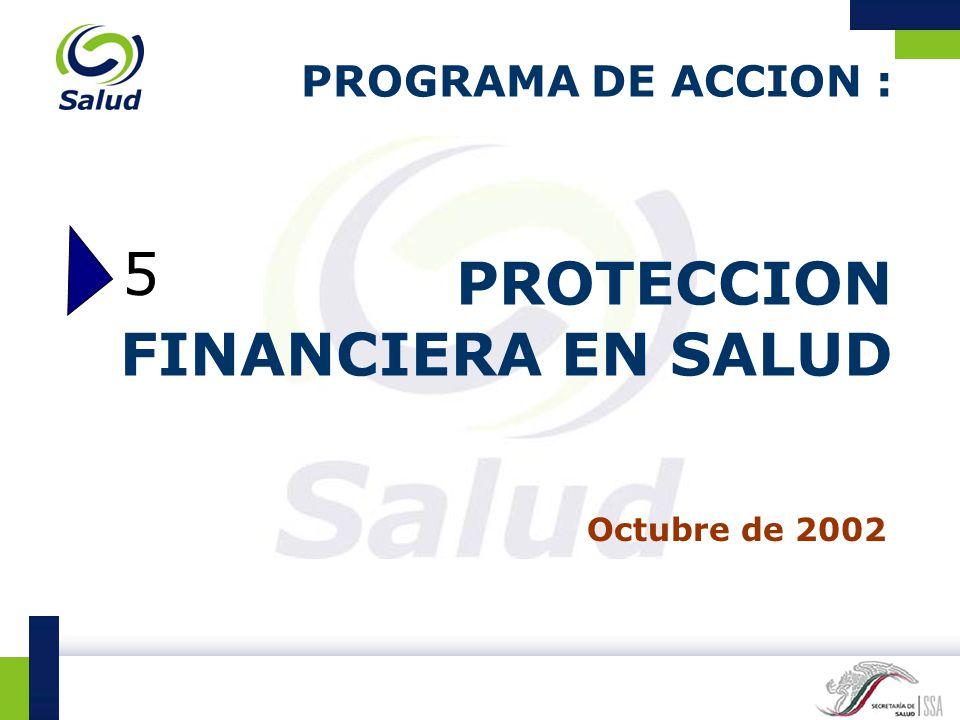 PROGRAMA DE ACCION : PROTECCION FINANCIERA EN SALUD Octubre de 2002 5