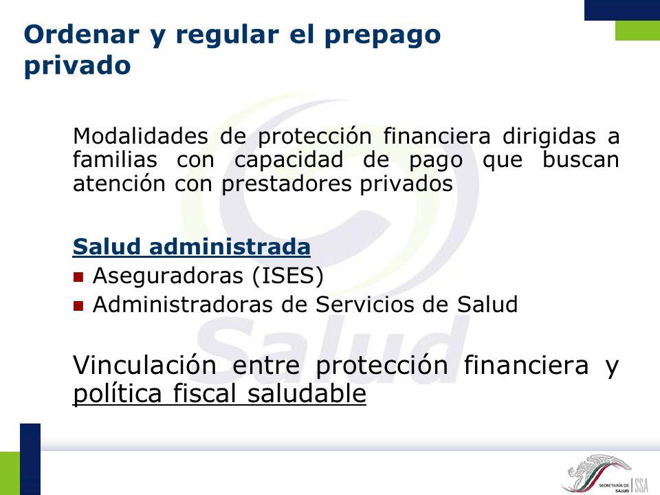 Ordenar y regular el prepago privado Modalidades de protección financiera dirigidas a familias con capacidad de pago que buscan atención con prestador