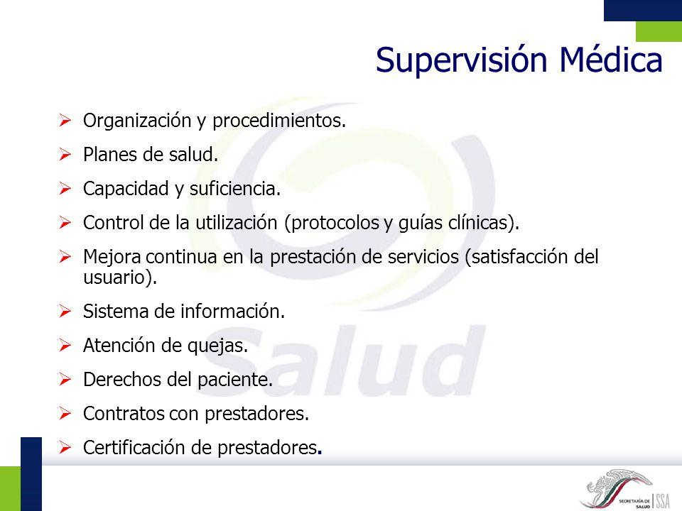 Supervisión Médica Organización y procedimientos. Planes de salud. Capacidad y suficiencia. Control de la utilización (protocolos y guías clínicas). M