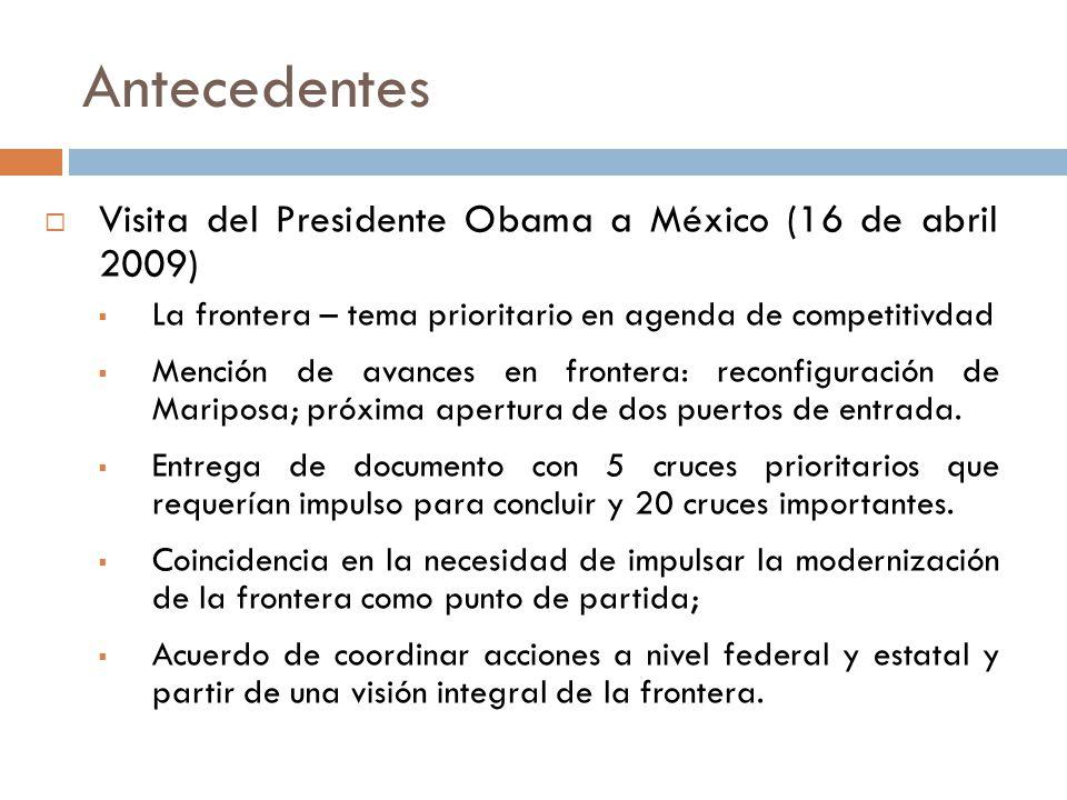 Antecedentes Visita del Presidente Obama a México (16 de abril 2009) La frontera – tema prioritario en agenda de competitivdad Mención de avances en frontera: reconfiguración de Mariposa; próxima apertura de dos puertos de entrada.