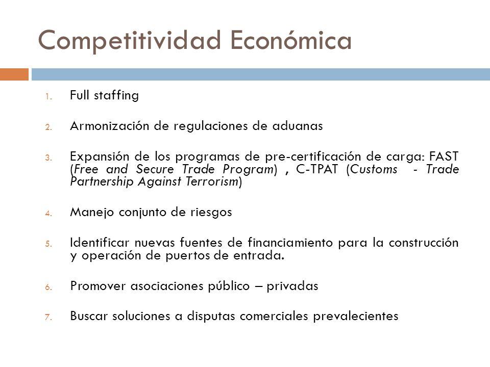 Competitividad Económica 1. Full staffing 2. Armonización de regulaciones de aduanas 3.