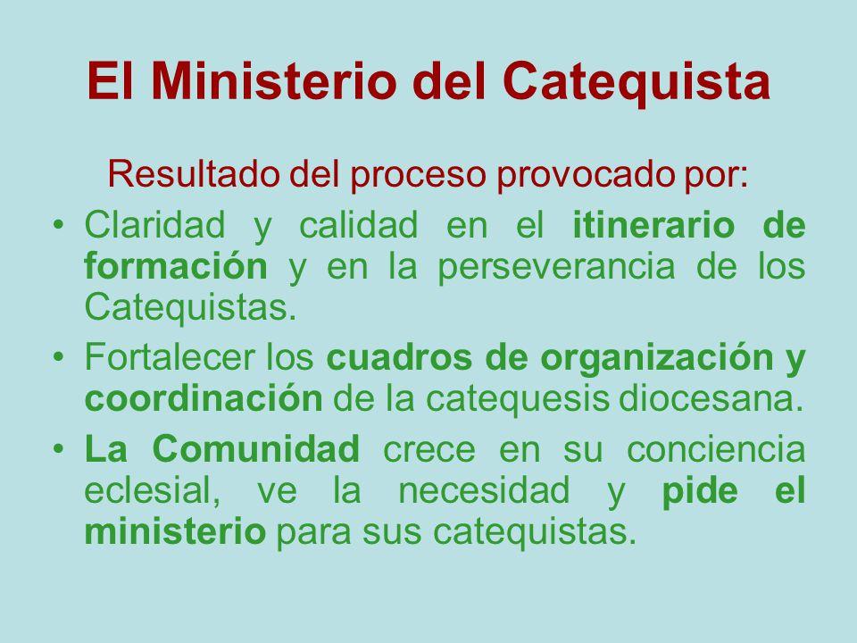 El Ministerio del Catequista Resultado del proceso provocado por: Claridad y calidad en el itinerario de formación y en la perseverancia de los Catequ