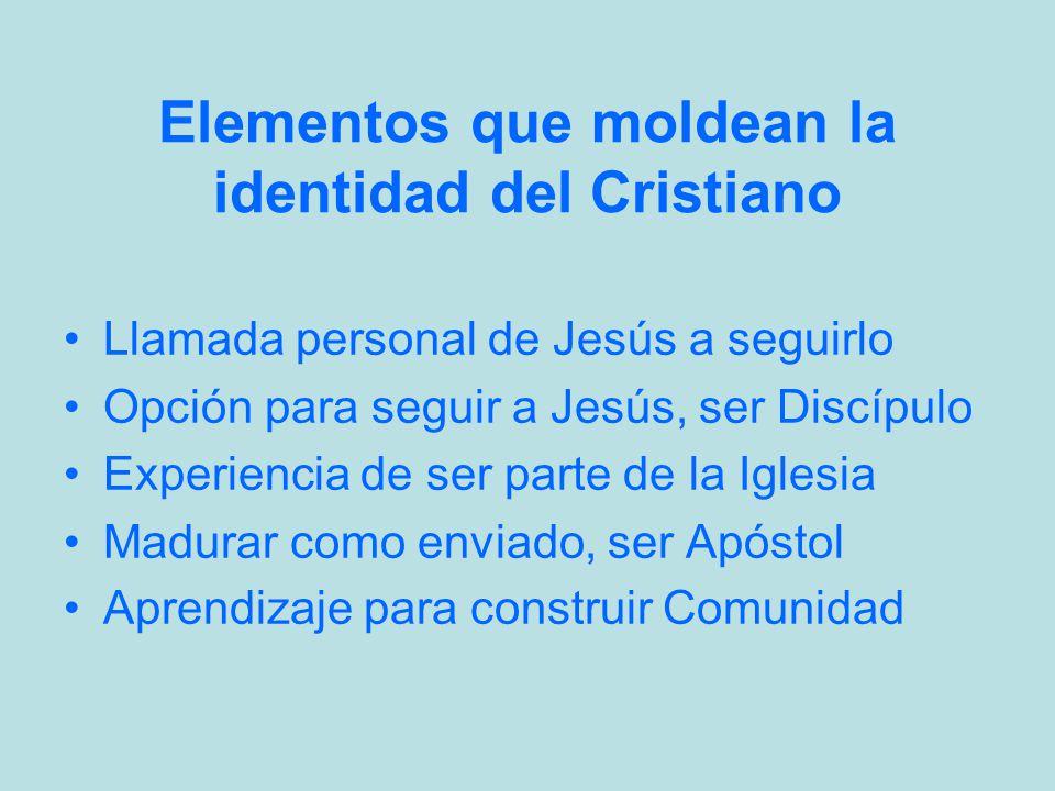 Elementos que moldean la identidad del Cristiano Llamada personal de Jesús a seguirlo Opción para seguir a Jesús, ser Discípulo Experiencia de ser par