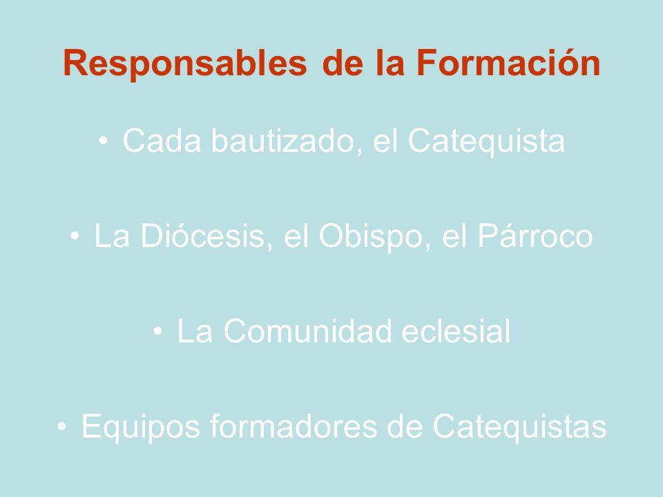 Responsables de la Formación Cada bautizado, el Catequista La Diócesis, el Obispo, el Párroco La Comunidad eclesial Equipos formadores de Catequistas