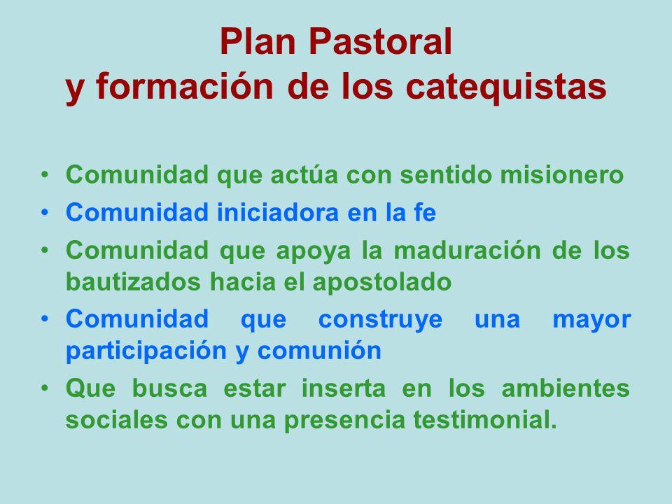 Plan Pastoral y formación de los catequistas Comunidad que actúa con sentido misionero Comunidad iniciadora en la fe Comunidad que apoya la maduración