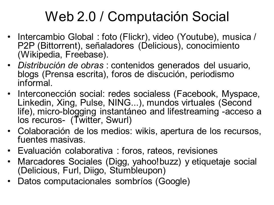 Web 2.0 / Computación Social Intercambio Global : foto (Flickr), video (Youtube), musica / P2P (Bittorrent), señaladores (Delicious), conocimiento (Wikipedia, Freebase).