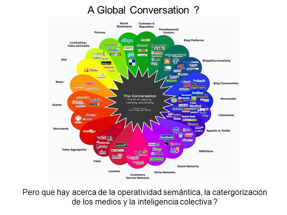 Pero que hay acerca de la operatividad semántica, la catergorización de los medios y la inteligencia colectiva ? A Global Conversation ?