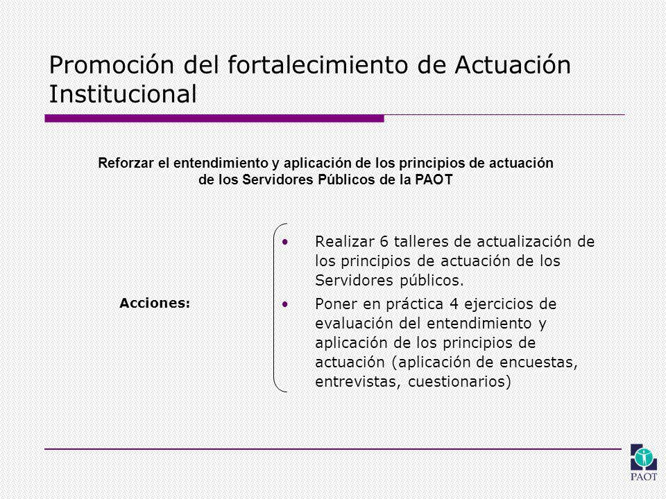 Promoción del fortalecimiento de Actuación Institucional Realizar 6 talleres de actualización de los principios de actuación de los Servidores públicos.
