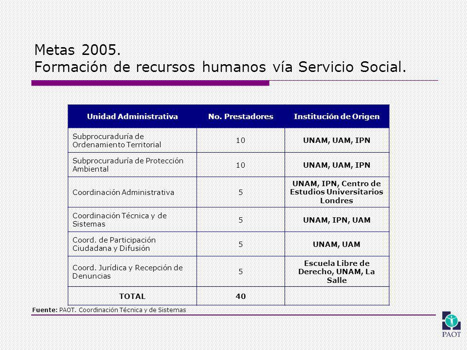 Metas 2005. Formación de recursos humanos vía Servicio Social.
