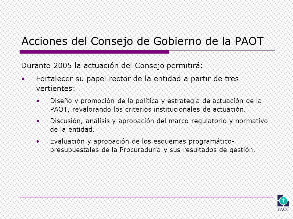 Acciones del Consejo de Gobierno de la PAOT Durante 2005 la actuación del Consejo permitirá: Fortalecer su papel rector de la entidad a partir de tres vertientes: Diseño y promoción de la política y estrategia de actuación de la PAOT, revalorando los criterios institucionales de actuación.