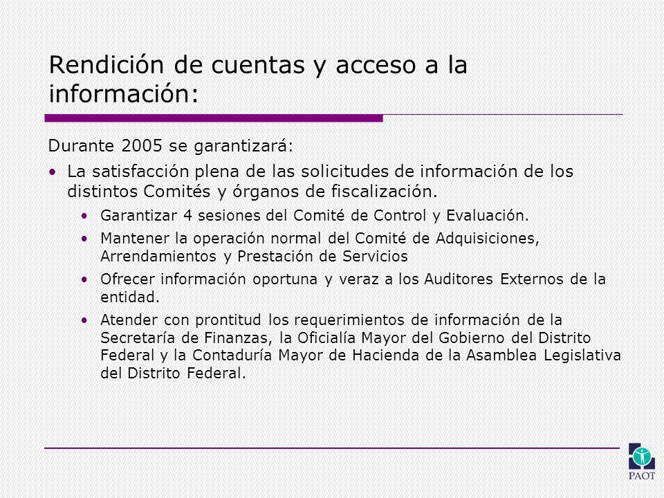 Rendición de cuentas y acceso a la información: Durante 2005 se garantizará: La satisfacción plena de las solicitudes de información de los distintos Comités y órganos de fiscalización.