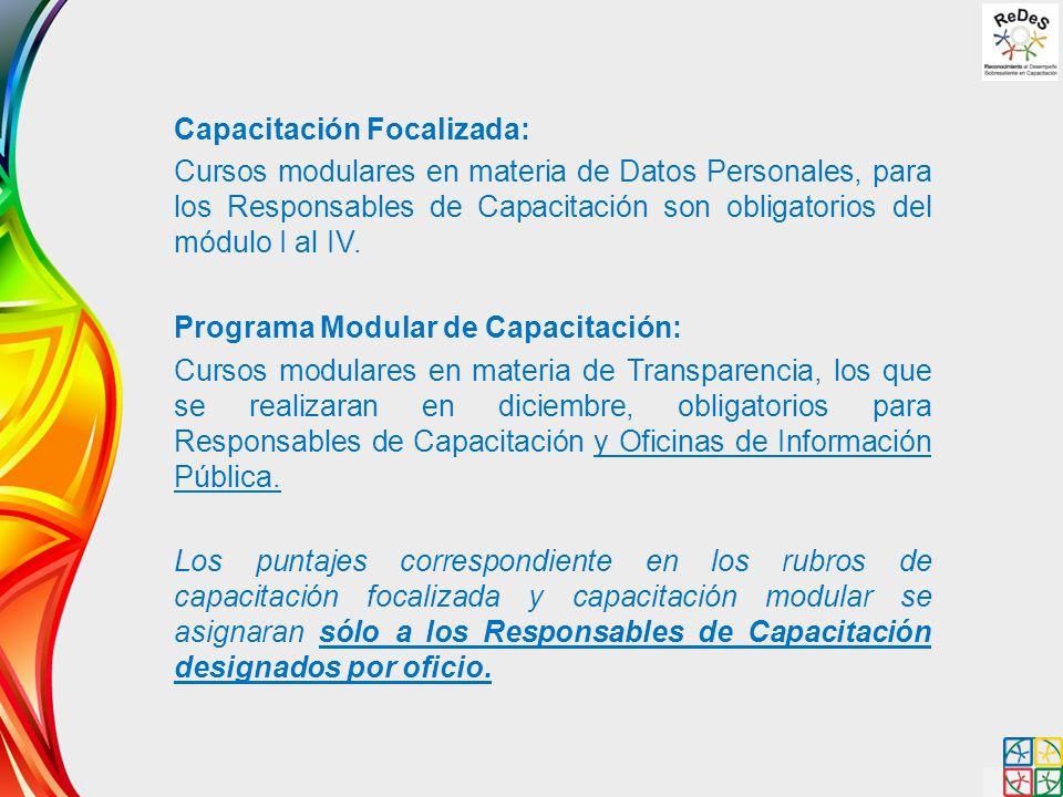 Capacitación Focalizada: Cursos modulares en materia de Datos Personales, para los Responsables de Capacitación son obligatorios del módulo I al IV. P