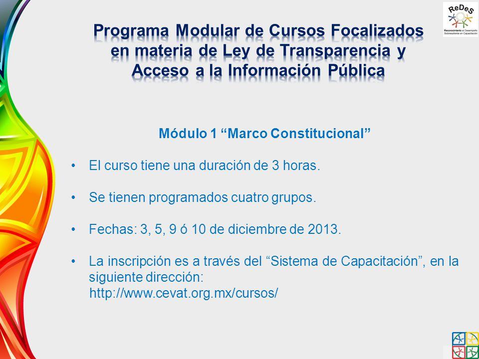 Módulo 1 Marco Constitucional El curso tiene una duración de 3 horas. Se tienen programados cuatro grupos. Fechas: 3, 5, 9 ó 10 de diciembre de 2013.