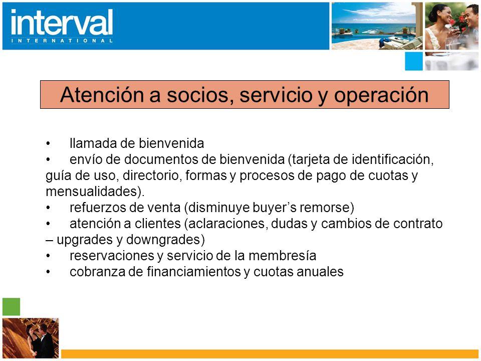 Atención a socios, servicio y operación llamada de bienvenida envío de documentos de bienvenida (tarjeta de identificación, guía de uso, directorio, f