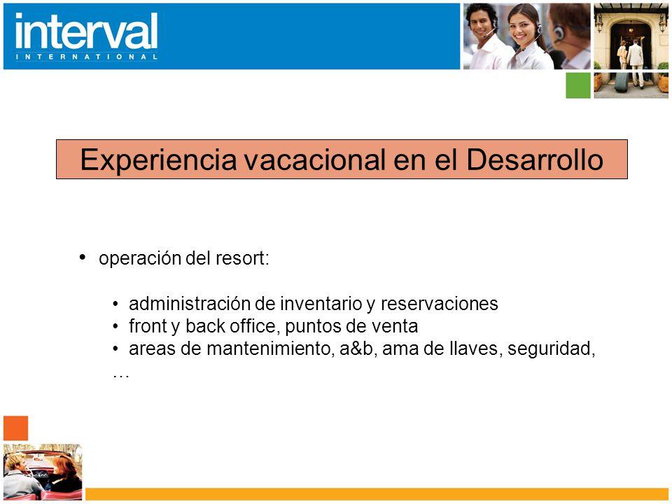 Experiencia vacacional en el Desarrollo operación del resort: administración de inventario y reservaciones front y back office, puntos de venta areas