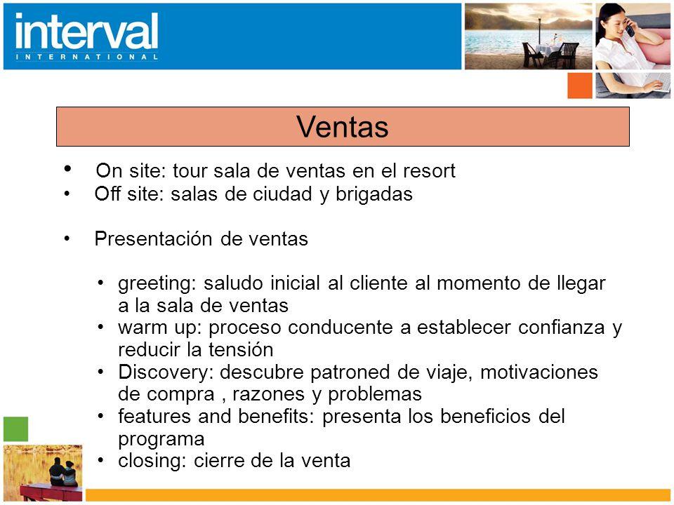 On site: tour sala de ventas en el resort Off site: salas de ciudad y brigadas Presentación de ventas greeting: saludo inicial al cliente al momento d