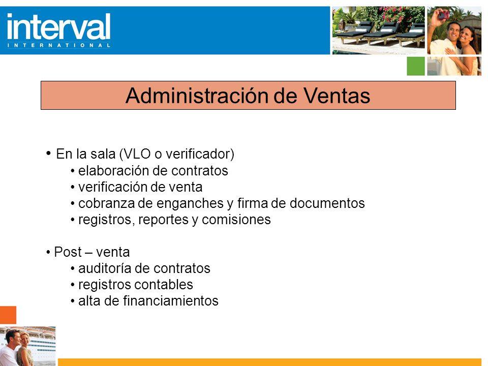 Administración de Ventas En la sala (VLO o verificador) elaboración de contratos verificación de venta cobranza de enganches y firma de documentos reg