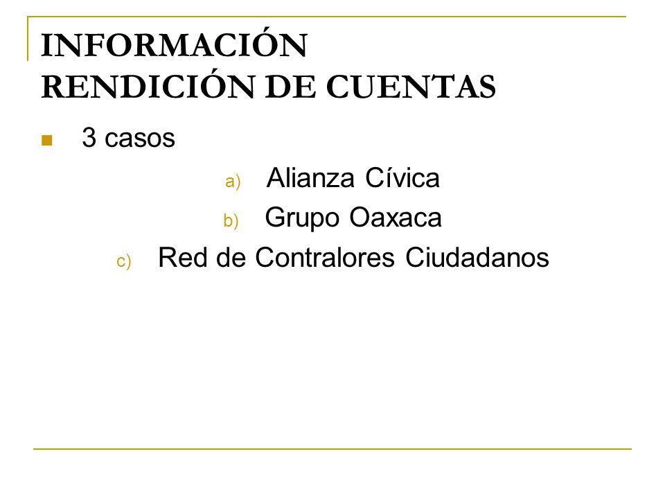 INFORMACIÓN RENDICIÓN DE CUENTAS 3 casos a) Alianza Cívica b) Grupo Oaxaca c) Red de Contralores Ciudadanos