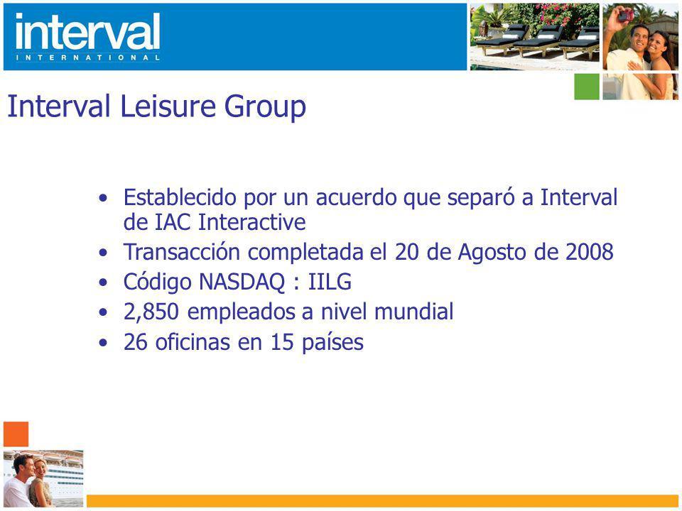 Interval International Fundada en 1976 en Miami, Florida 1,500 empleados Aproximadamente 2,700 desarrollos afiliados en más de 75 países Cerca de 2 millones de familias inscritas en varios programas Oficinas localizadas en 15 países