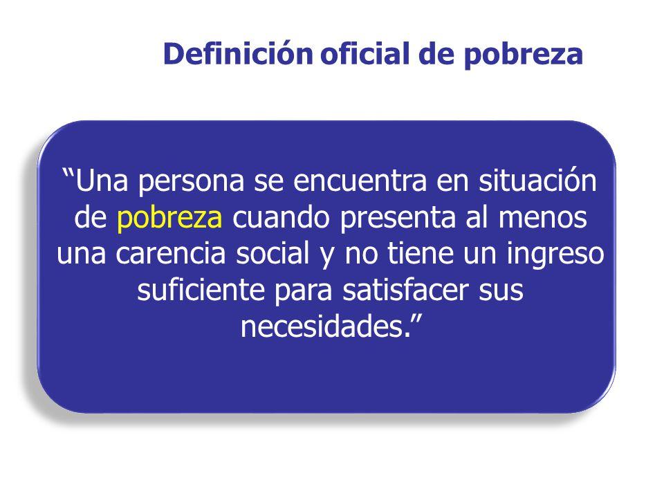 Definición oficial de pobreza Una persona se encuentra en situación de pobreza cuando presenta al menos una carencia social y no tiene un ingreso suficiente para satisfacer sus necesidades.