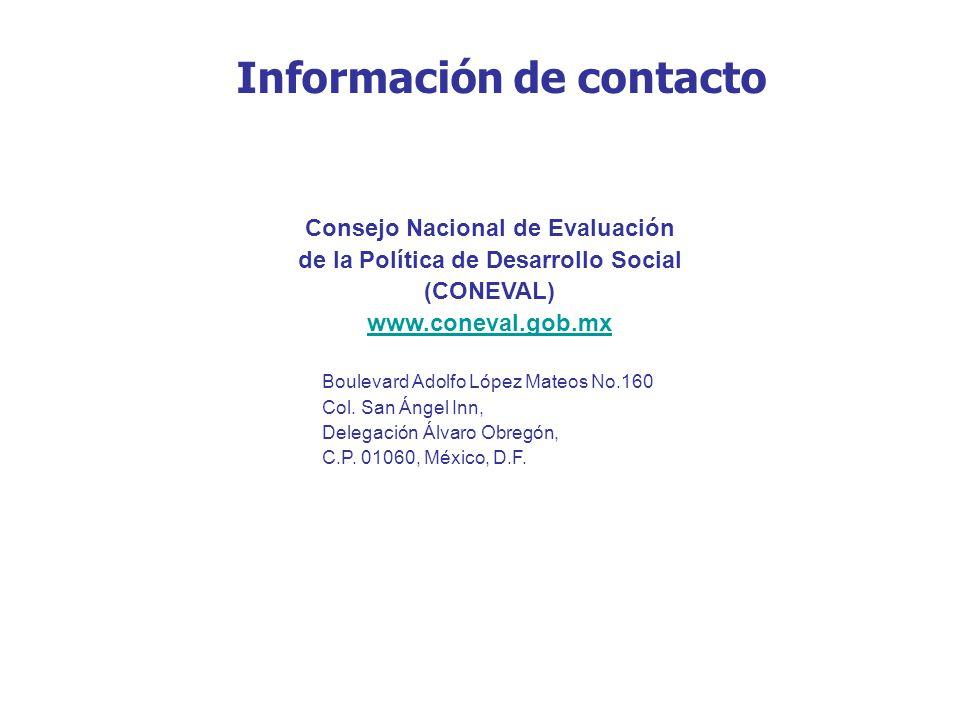Consejo Nacional de Evaluación de la Política de Desarrollo Social (CONEVAL) www.coneval.gob.mx Boulevard Adolfo López Mateos No.160 Col. San Ángel In