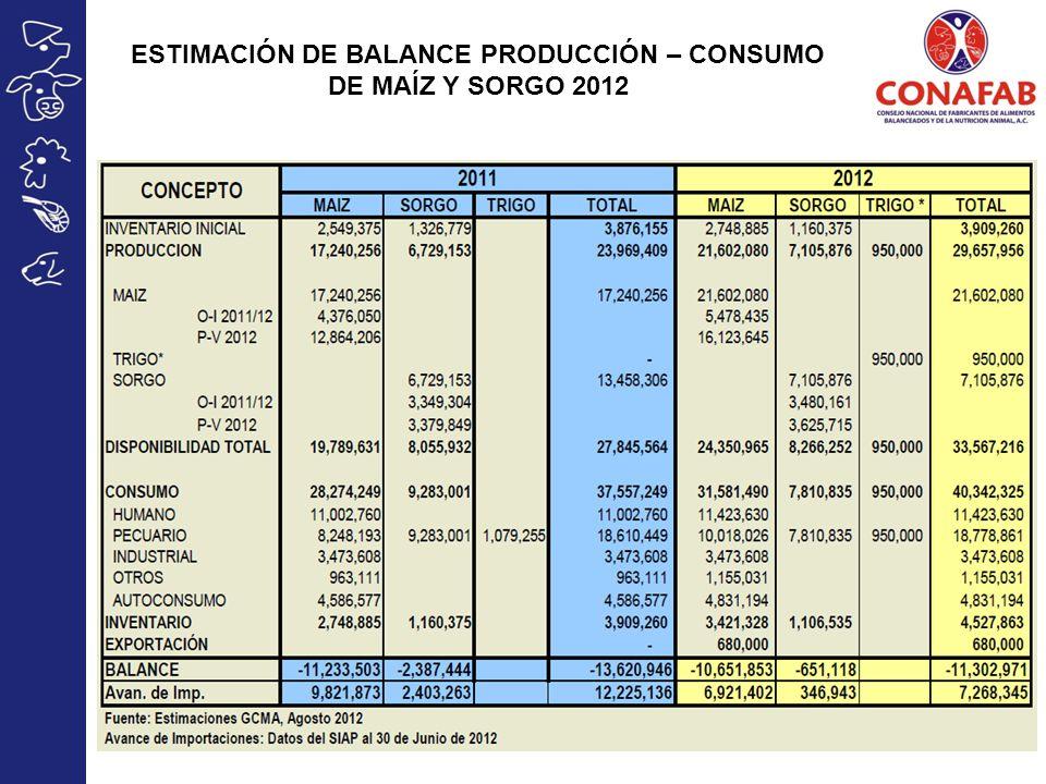 ESTIMACIÓN DE BALANCE PRODUCCIÓN – CONSUMO DE MAÍZ Y SORGO 2012