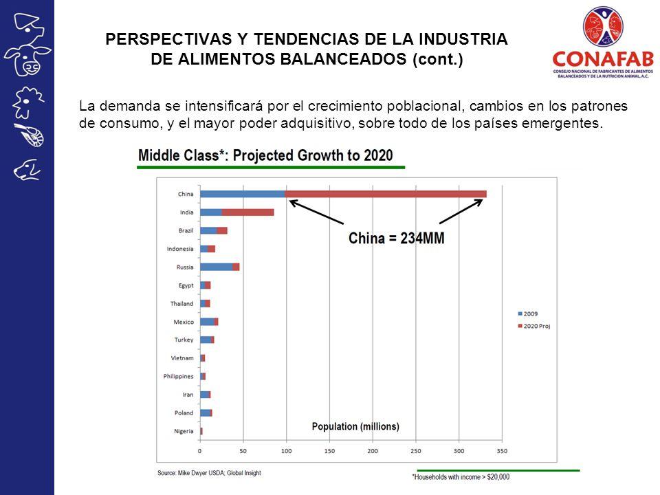 La demanda se intensificará por el crecimiento poblacional, cambios en los patrones de consumo, y el mayor poder adquisitivo, sobre todo de los países