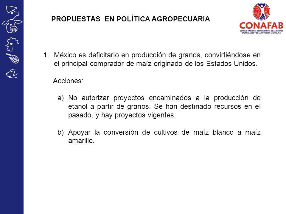 PROPUESTAS EN POLÍTICA AGROPECUARIA 1.México es deficitario en producción de granos, convirtiéndose en el principal comprador de maíz originado de los Estados Unidos.