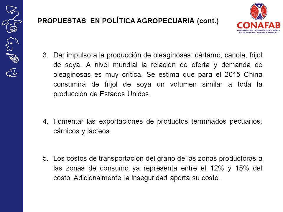 PROPUESTAS EN POLÍTICA AGROPECUARIA (cont.) 3.Dar impulso a la producción de oleaginosas: cártamo, canola, frijol de soya. A nivel mundial la relación